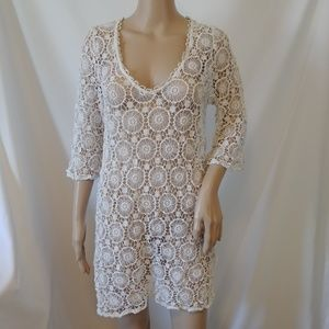 f663feeb1cbed Mud Pie Mallory Crochet Cover Up Size Large Ivory